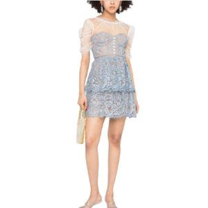 NWT Self-Portrait Tiered Lace & Tulle Mini Dress